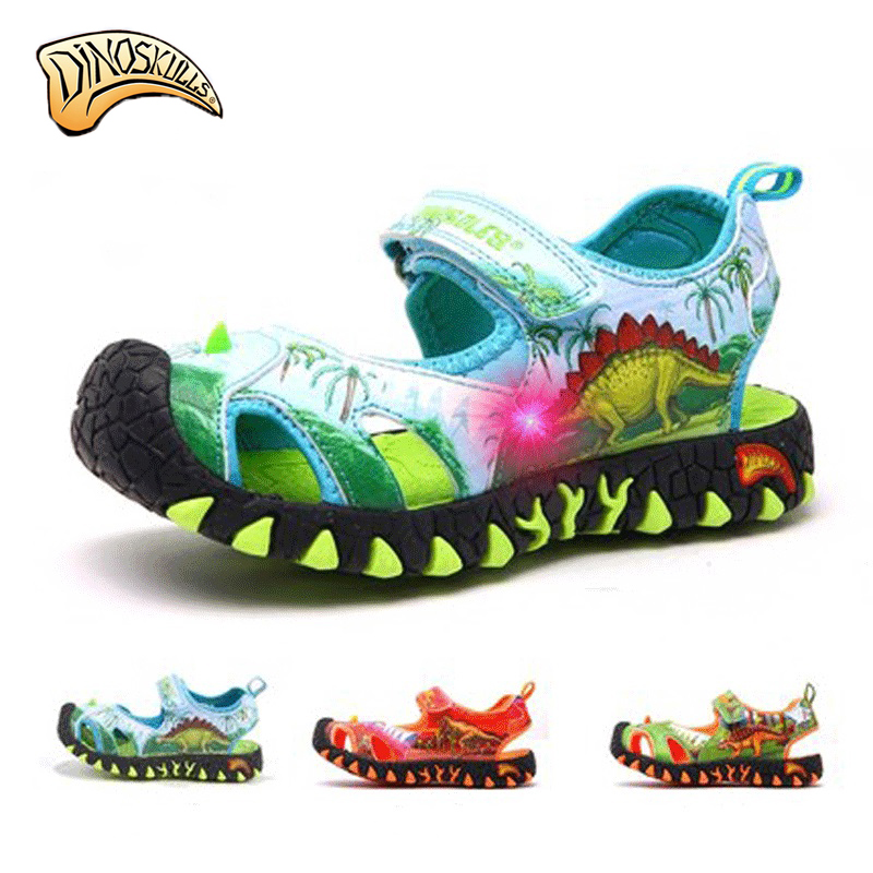 Dinoskulls Kids Boys Sandals Unicorn Shoes Boys Summer Dinosaur Sandals Kids Beach Shoes Sandales Garcon 2018 Nouveau Size 27-34