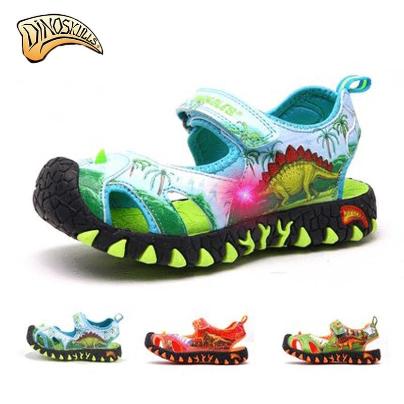 Dinoskulls Kids Boys Sandals Unicorn Shoes Boys Summer Dinosaur Sandals Kids Beach Shoes Sandales Garcon 2018 Nouveau Size 27-34