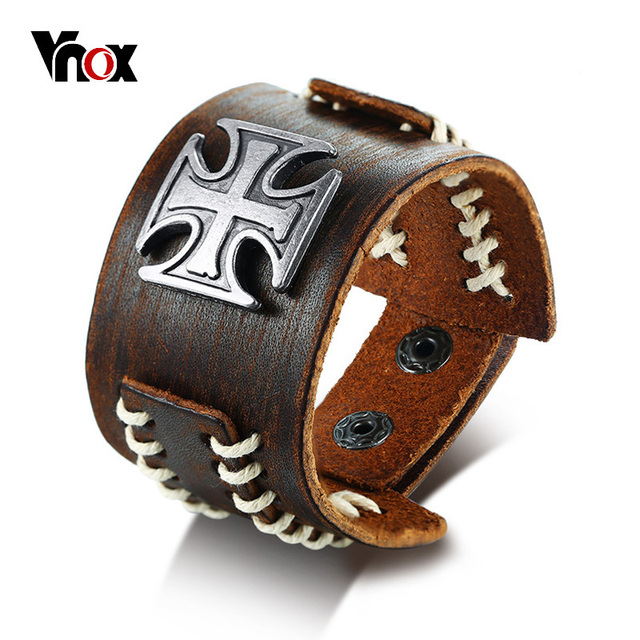 Vnox Stylish Vintage Sching Genuine Real Leather Maltese Cross Wrap Bracelet For Men Wristband Male Retro