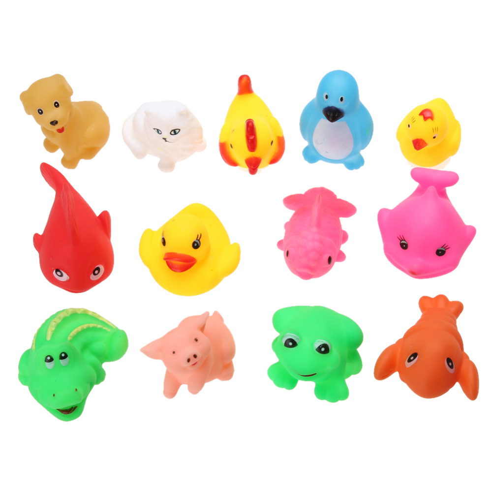 13Pcs-Cute-Soft-Rubber-Float-Squeeze-Sound-Dabbling-Toys-Baby-Wash-Bath-Play-Animals-Toys-Bath-Toy-1