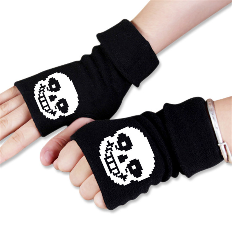 Multi Stil Männer Frauen Anime Cartoon Undertale Skeleton Sans <font><b>Winter</b></font> <font><b>Warme</b></font> Halbe Finger Handschuh Cosplay Zubehör image