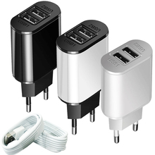 Universal Dual USB Travel Charger 5V 2A Portable Charging Adapter Mobile Phone EU US Plug Chargers for Samsung Xiaomi Cable