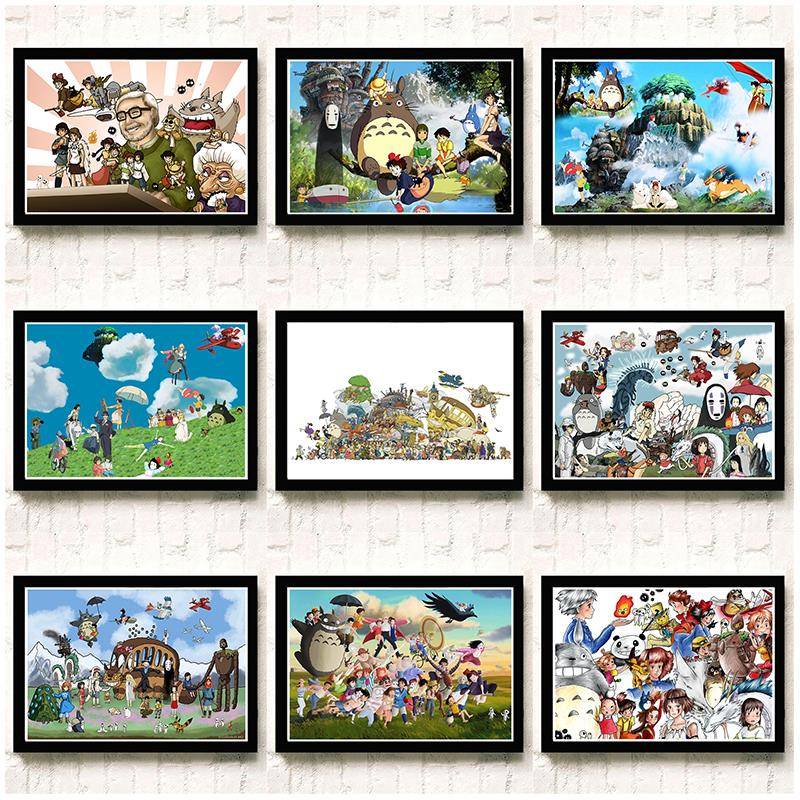 Us 174 38 Offhayao Miyazaki Animation Film Poster Wallpaper Wall Sticker Cartoon Surrounding Chinchilla Spirited Away 4230cm In Wall Stickers