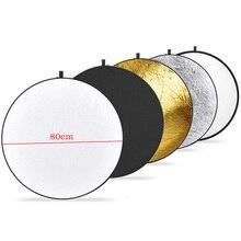 """3"""" 80 см 5 в 1 портативный складной светильник, Круглый отражатель для фотостудии, мульти фото диск, наружный студийный отражатель"""