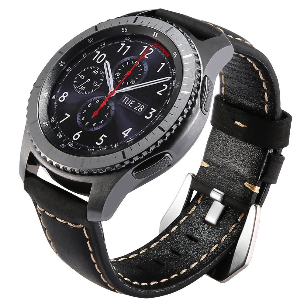 Smart watch strap for Samsung gear s3 Frontier/Classic band Genuine Leather Smartwatch bracelet wrist belt & 22mm watchband crested genuine leather strap for samsung gear s3 watch band wrist bracelet leather watchband metal buck belt