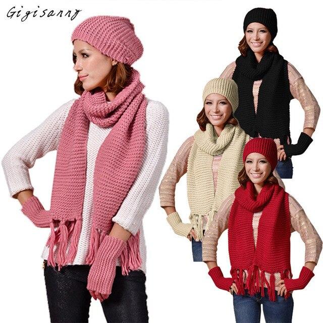 Gigisanny Knitted Woolen Winter Hats for Women Crochet Hat Fur Wool Knit Beanie Warm Cap+Scarf+Gloves Shawl Free Shipping,Nov 21