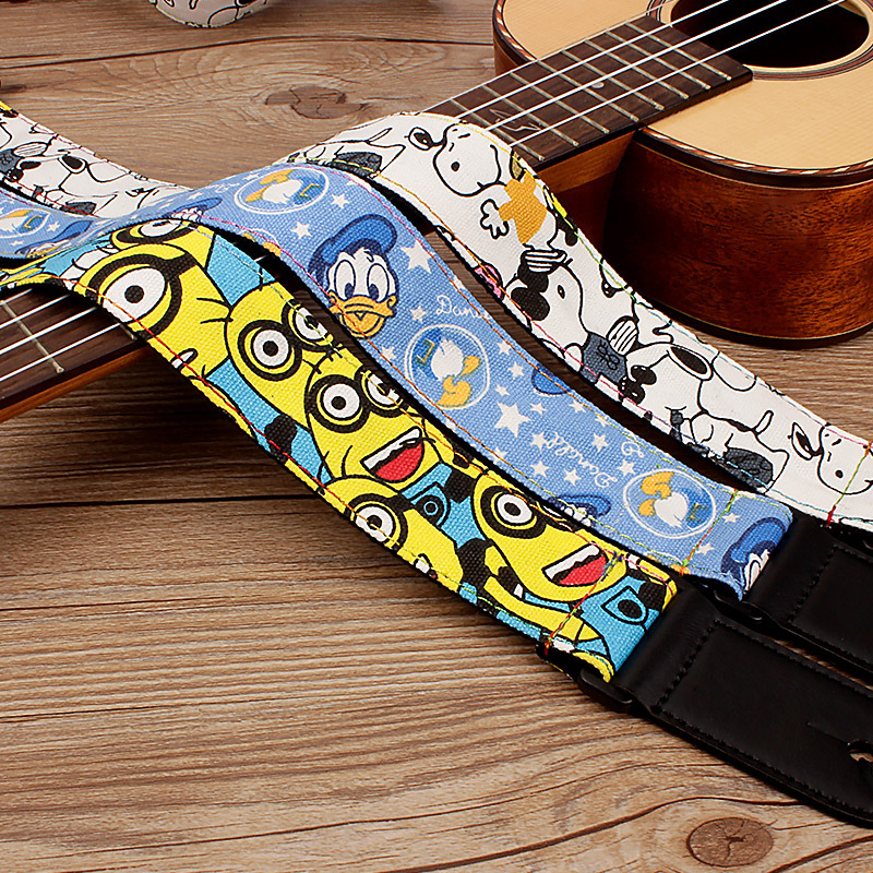 Adjustable Cartoon Children Small Hawaii Guitar Ukulele Strap Belt With PU Leather Ends high quality jacquard strap with leather ends adjustable buckle electric guitar acoustic strap red flame print