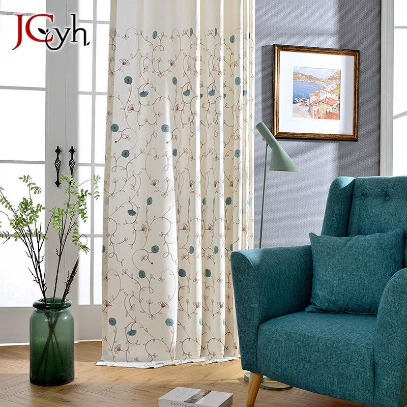 Japanese Style Embroidered Vine White Curtains For Livingroom Pastoral Folral Cotton Rideaux Salon Gordijnen Cortinas