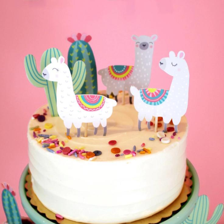 Superb 5Pcs Alpaca Cactus Cake Topper Lama Party Decorations Cartoon Cute Funny Birthday Cards Online Fluifree Goldxyz