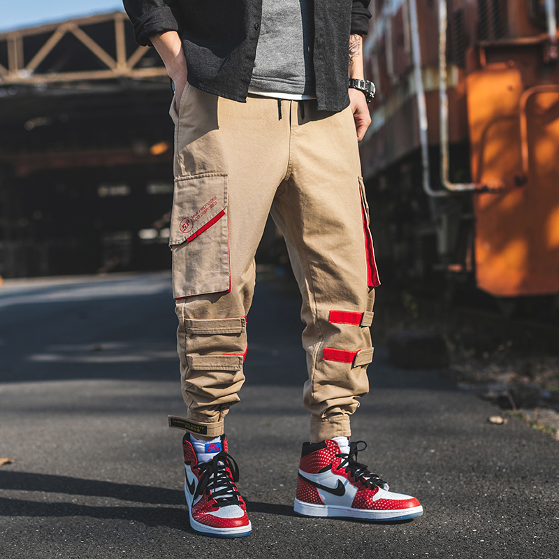 Khaki Jogging Pants With Pockets Causal Summer Baggy Wide Harem Pants Male Cargo Workwear Tactical Sweatpants Punk Men Clothing
