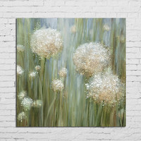 Large Dandelion Floral Pictures Modern Home Decor Wall Painting Arts Handpainted Abstract White Flower Oil Paintings on Canvas
