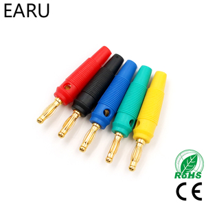 4pcs New 4mm Plugs pure copper Gold Plated Musical Speaker Cable Wire Pin Banana Plug Connectors Red Black Blue Green Yellow