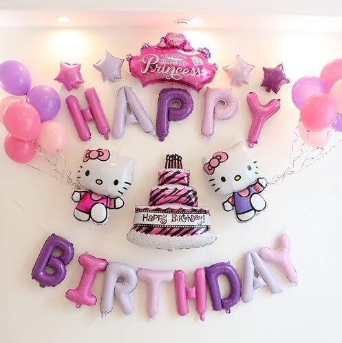 33 Buahbanyak Unicorn Merah Muda Warna Happy Ulang Tahun Hello Kitty Balon Baby Shower Pesta Latar Belakang Dinding Dekorasi