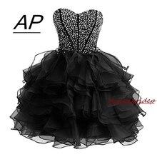 Urocze powyżej kolana Aqua Homecoming sukienka 2020 krótkie kochanie Organza sukienek z cekinami Plus suknie Graduation suknie