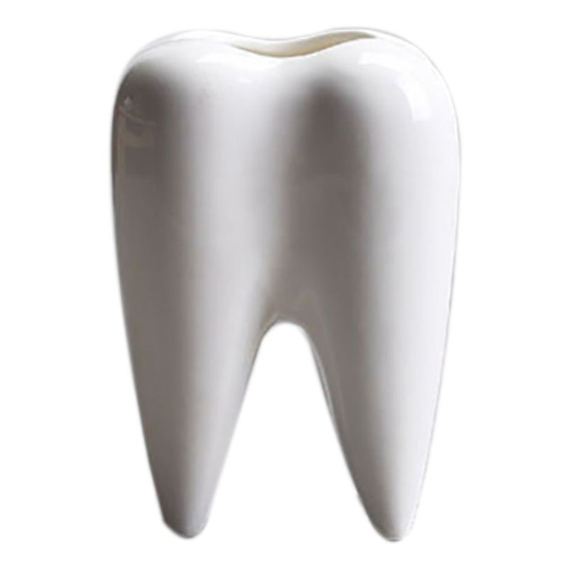 Tooth Shape White Ceramic Flower Pot Modern Design Planter Teeth Model Mini Desktop Pot Creative Gift(without Plants)