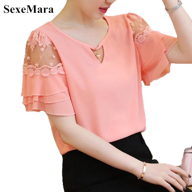 2019 Summer Butterfly sleeve Women blouse shirt Plus size Clothing Patchwork Crochet Lace Tops Fashoin Ruffles Chiffon blouse