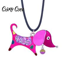 Cring Coco Cute Dog Necklaces & Pendants for Children Mens Women Black Color Rope Chain Fashion Jewelry Enamel Animal Necklace