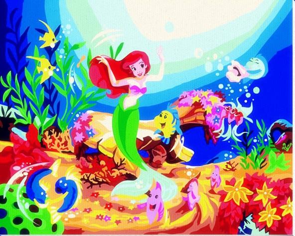 Hq aquarium fish cartoon mermaid picture on wall acrylic for Little mermaid fish tank decor