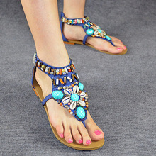 Bohemia Style Beach Shoes 2015 High Quality T-strap Women Flat Sandals Plus Size 34-41 Flip-flop Shoes