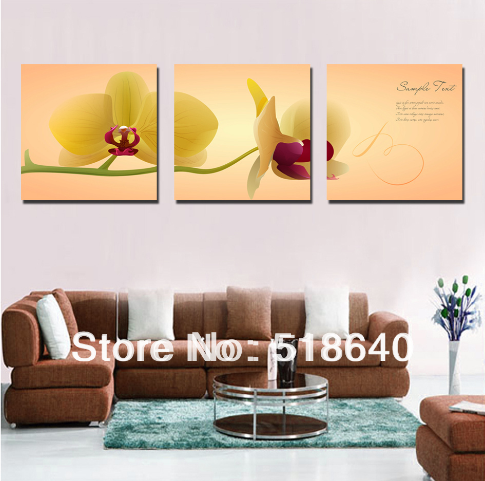 canvas living room 3 panel large simple phalaenopsis flowers scenery canvas 11238
