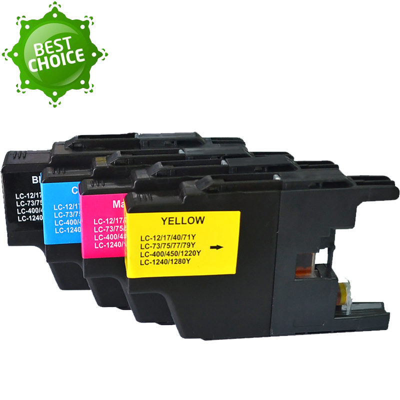 4 PCs full Ink Cartridge for Brother Printer LC75 LC77 LC79 LC400 LC450 <font><b>LC1280</b></font> LC73 MFC-J430W MFC-J825DW J835DW DCP-J525N J540N image