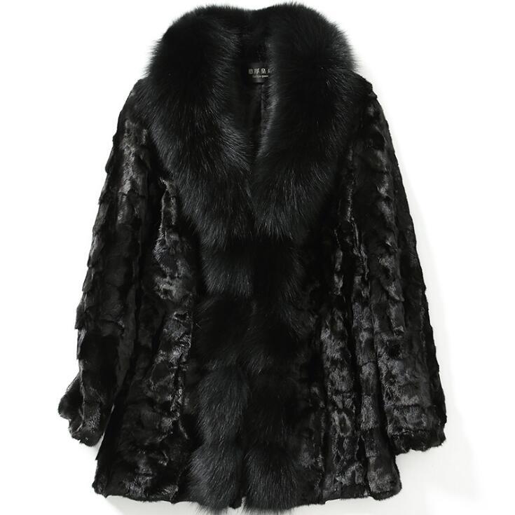Femmes fourrure de renard col réel véritable fourrure de raton laveur naturel hiver neige manteaux E1028-004