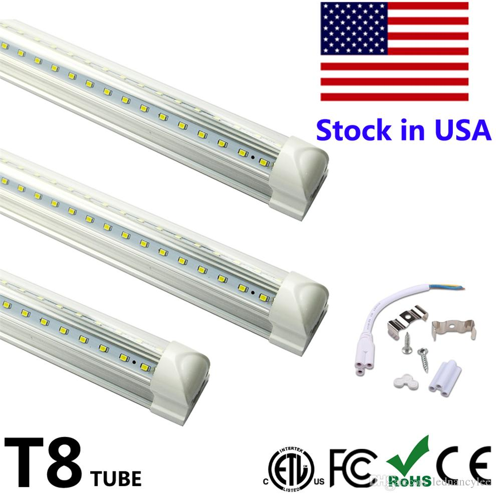 2400mm 8ft T8 LED Tube Light Integrate V Shape Double Side Power Cooler Door Lighting SMD2835 100LM/W AC85-265V 8feet 8 foot solid brass single handle waterfall spout bathromm sink faucet countertop basin mixer tap antique brass