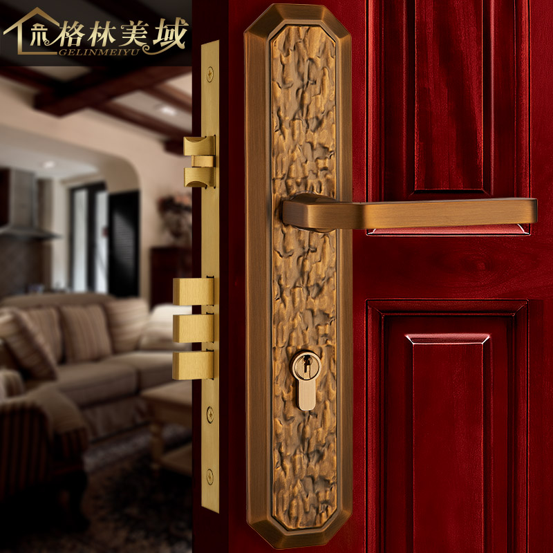 Pure copper door lock European interior wooden door lock American full copper villa door lock bedroom door lock european lock pure copper antique interior wooden door lock full copper door lock villa bedroom door lock