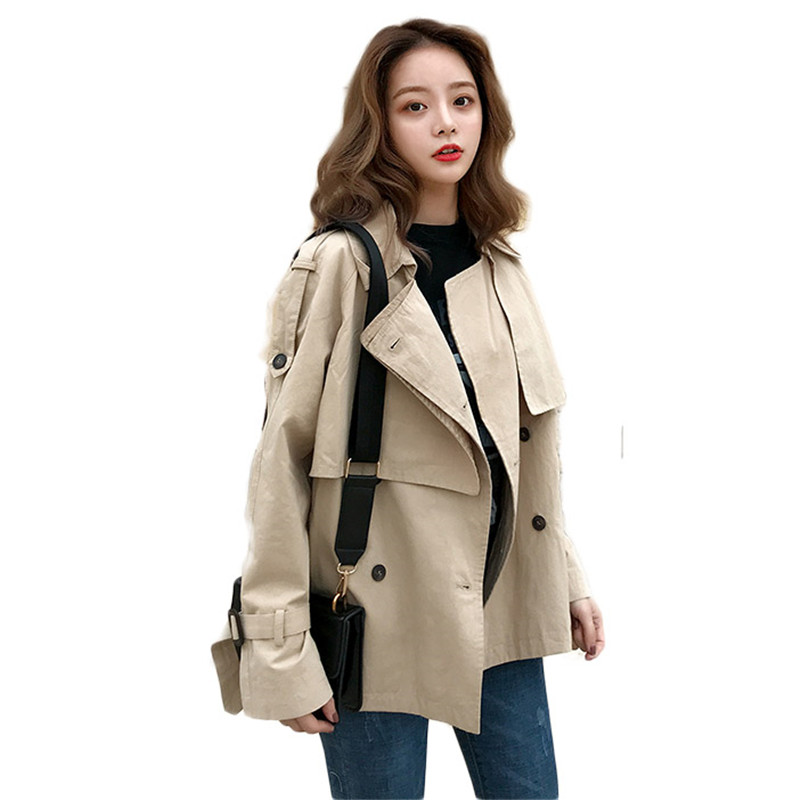 2019 Spring Autumn Women Vintage Double Breasted   Trench   Coat Office Lady Short Loose Overcoat Female Temperament Outerwear M182