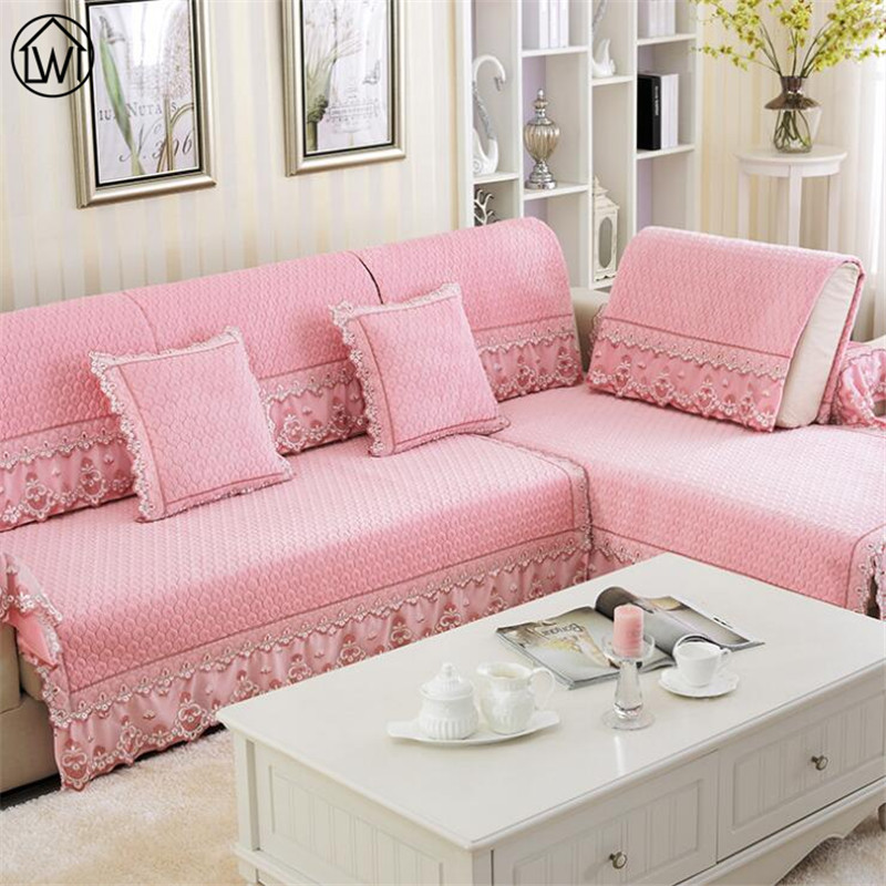 Europe Plush Lace Fabric Cover Sofa Quilted Flocked Universal Sofa ...