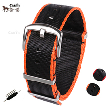 20mm 22mm Seat Belt Nylon NATO Zulu Strap Heavy Duty Military G10 Watch Band Replacement Watch Straps Black/Red Black/Orange