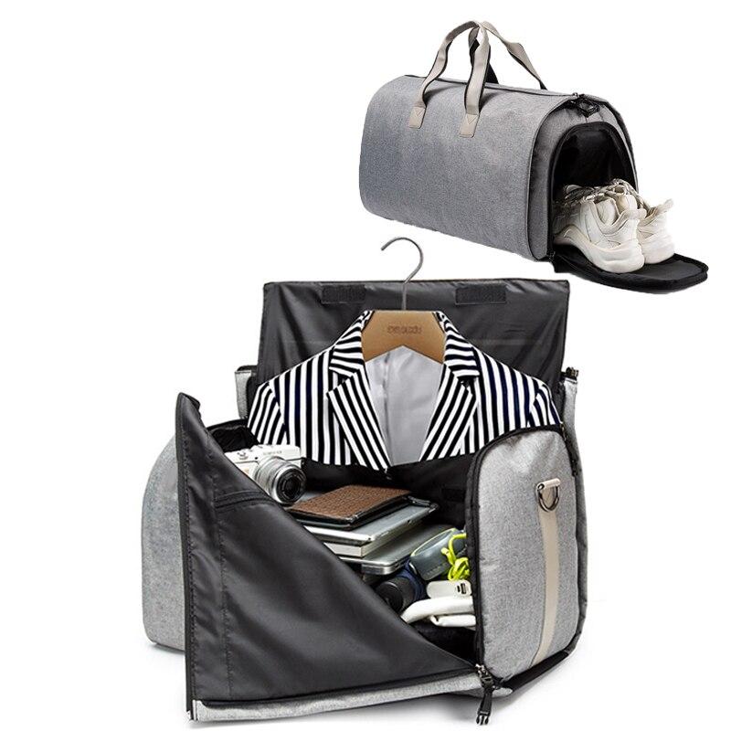 2019 3 In 1  Men Suit Bag Women Travel Bag Large Capacity Multi-function Weekend Fitness Bag Shoe Bag Dropshipping Fornecedores