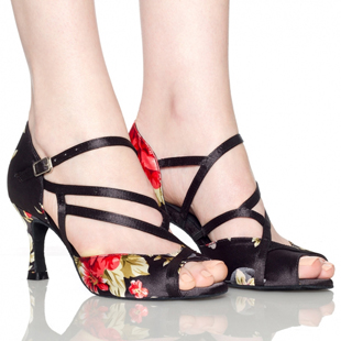 Vintage print women s professional Women s Ankle Strap Satin Latin Ballroom Dance Shoes sandals