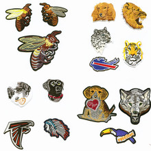 hot deal buy the wolf leopard lion patchwork patch embroidered patches for clothing iron-on for close shoes bags badges embroidery
