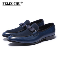 Luxury Handmade Genuine Leather And Suede Leather Formal Shoes With Bow Tie Men Wedding Party Dress Shoes Men's Banquet Loafers