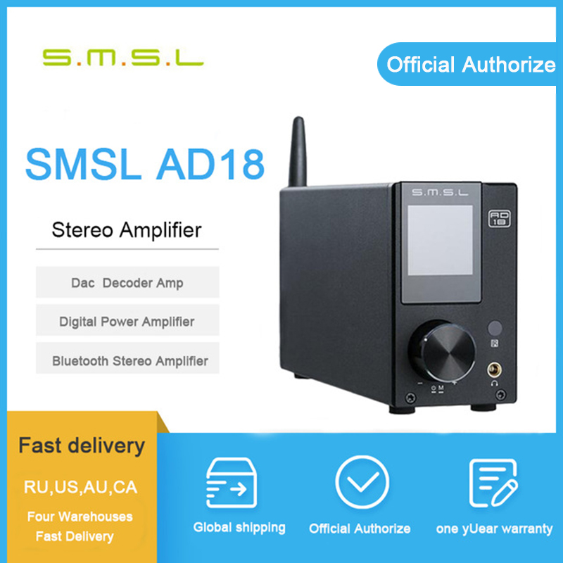 Smsl ad18 amplificateur bluetooth audio amplificateur amplificateur de puissance 80 w stéréo usb numérique amplificador audio mini amplificador