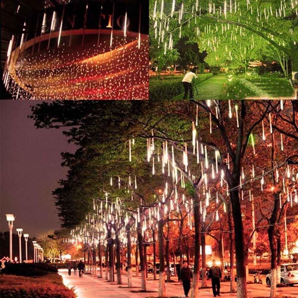 ano novo 50 cm chuva de meteoros chuva led branco quente luzes da corda ao ar