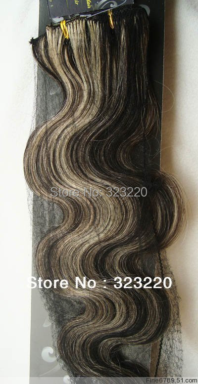 Wholesale 22″ Women's Remy Human Hair Clips In Extensions Body Wavy 7Pcs 75g Mixed Black Blonde #1B/613
