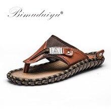12c5e42444d44 BIMUDUIYU Marca Nova Chegada Chinelos de Alta Qualidade Feitos À Mão de  Vaca Genuína Sapatos De Couro de Verão Homens Moda Sandá.