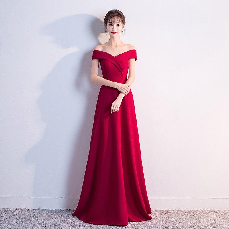 Red Off Shoulder Wedding Bride Toast Suit Evening Slim Floor Length Mermaid Dresses 2020 Spring Elegant Vestido Size XS-2XL