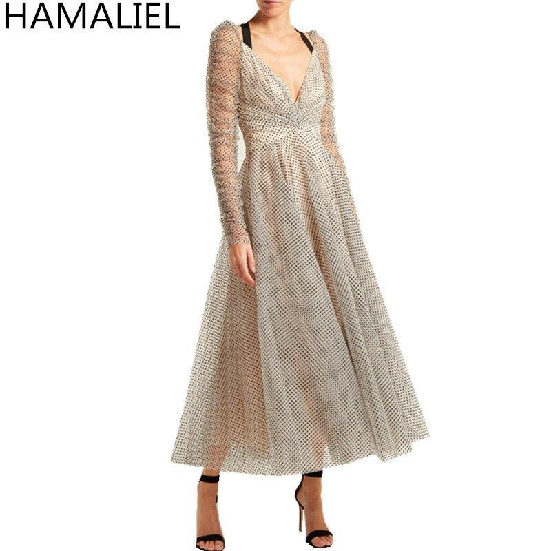 HAMALIEL новый дизайнер взлетно-посадочной полосы Для женщин бальное платье Роскошные осенние сетки печати Dow сексуальный спинки леди с бантом ...