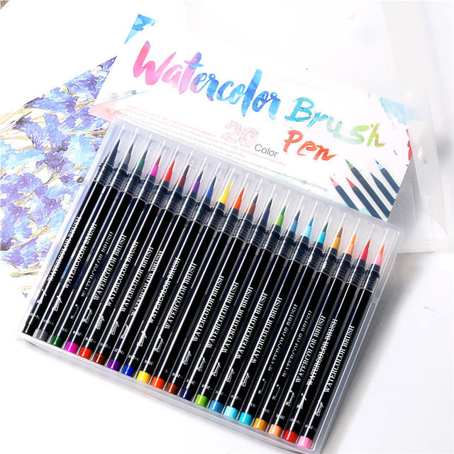20 Colors Watercolor Painting Soft Brush Marker Pen Set Best For ...