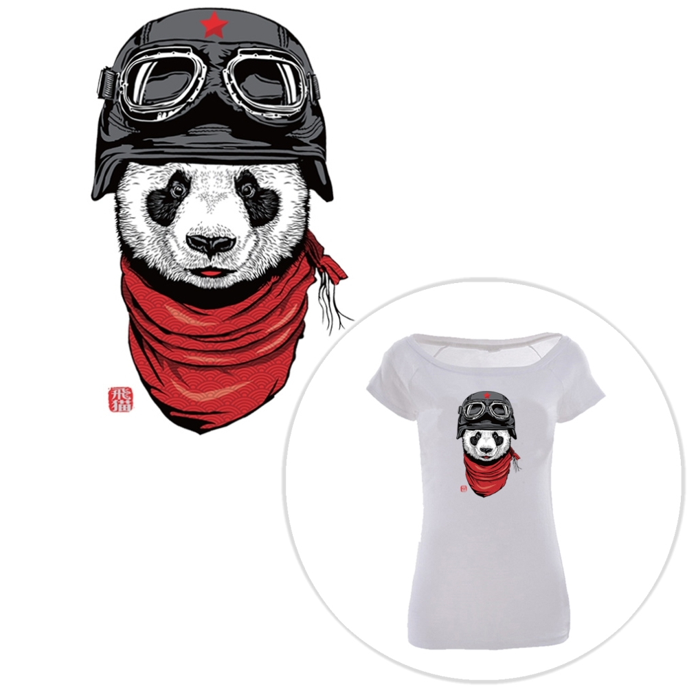 Entertainment Memorabilia Helpful 2pc Popular Cute Cartoon Panda T-shirt Dresses Heat Transfer Patch Sticker A-level Washable Iron-on Appliques Diy Printing