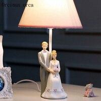 Modern creative dolls table lamps wedding gifts romantic cute cartoon LED wedding dress resin desk lamp free shipping