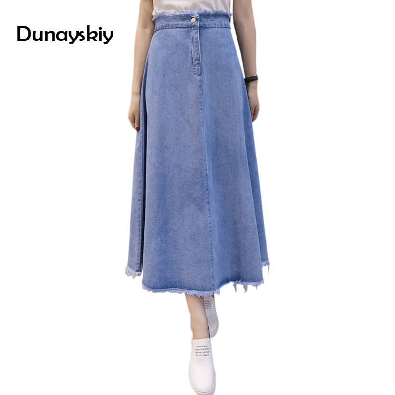 2142b4a4e4f Summer Autumn Jeans skirt Denim Long Skirt High Waist Jeans Maxi Skirts  Saias jean Longa Feminina Casual Jeans Jupe Dunayskiy-in Skirts from  Women's ...