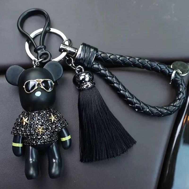 NEW DESIGN Bomgom Tassels Cartoon Popobe Gloomy Bear Keychain Cute Bag Charm Holder Cartoon Resin Key Chain