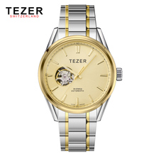 Free Shipping TEZER Brand Men Business High Quality Full Stainless Steel Hollow Tourbillon Resistant Auto Mechanical