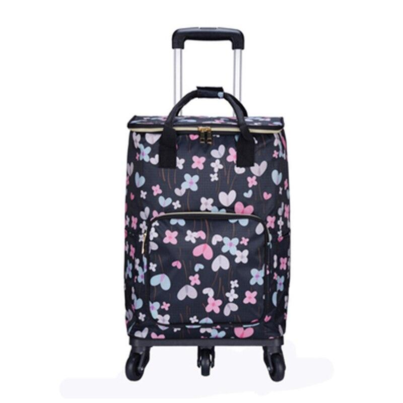 Femme panier ancien sac à provisions/panier universel roue chariot sac détachable pliant aluminium papier sacs d'isolation