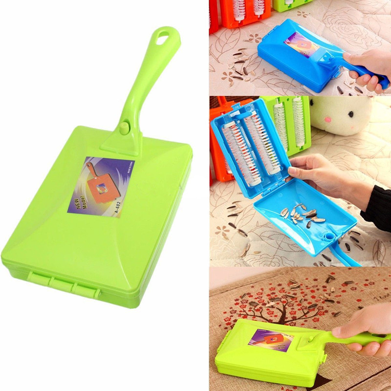 1pc Mini Hand Push Vacuum Cleaning Brush Long Handle Table Sweeper Cleaner Roller Tool Dust Collector Household Accessories