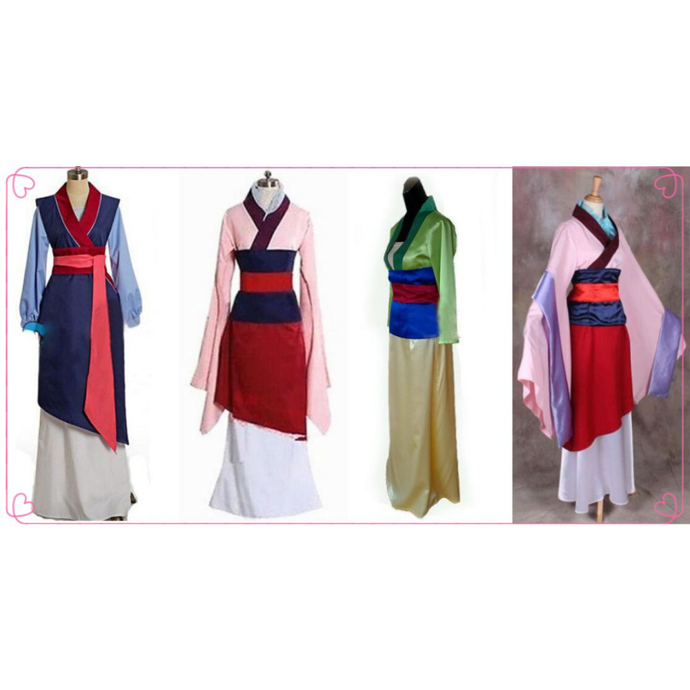 Movie Hua mulan cosplay dress mulan princess costume for adult and kids Custom Made mulan pink blue yellow for Halloween cosplay